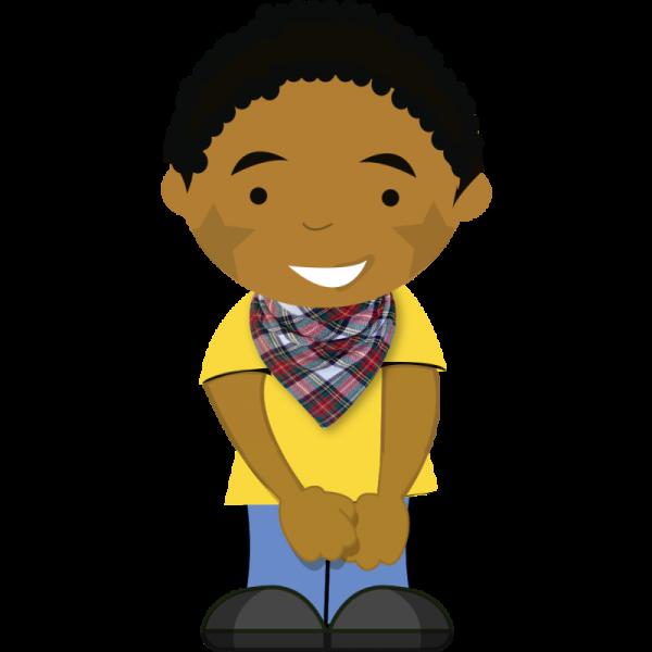 Cartoon boy wearing brushed tartan dribble bib