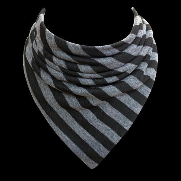 black and grey striped bib