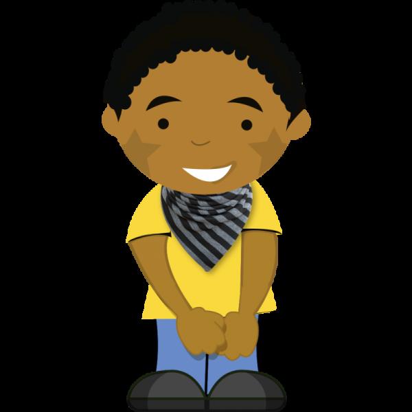 Black and grey striped dribble bib on cartoon boy