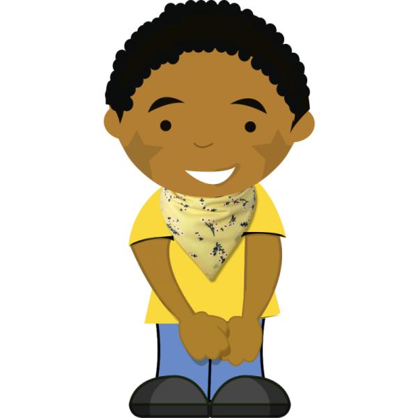 floral yellow bib on cartoon boy