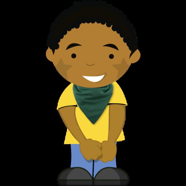 green bib on cartoon boy