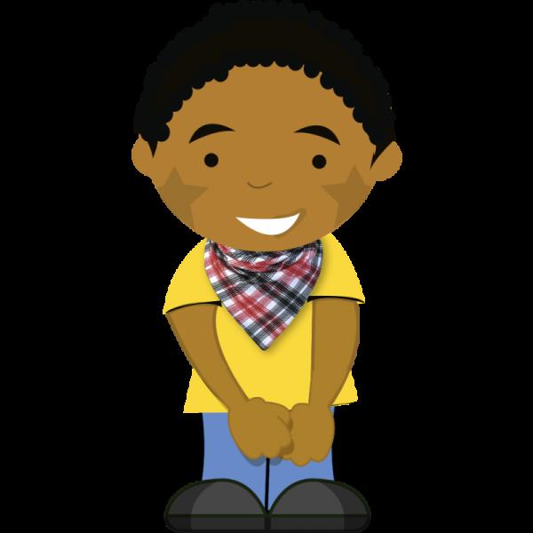 Cartoon boy wearing newspaper dribble bib