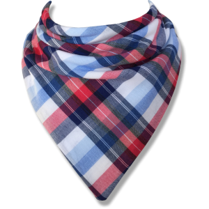 blue white and red tartan bib