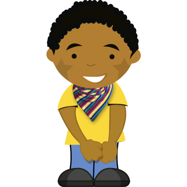 rainbow striped bib on cartoon boy
