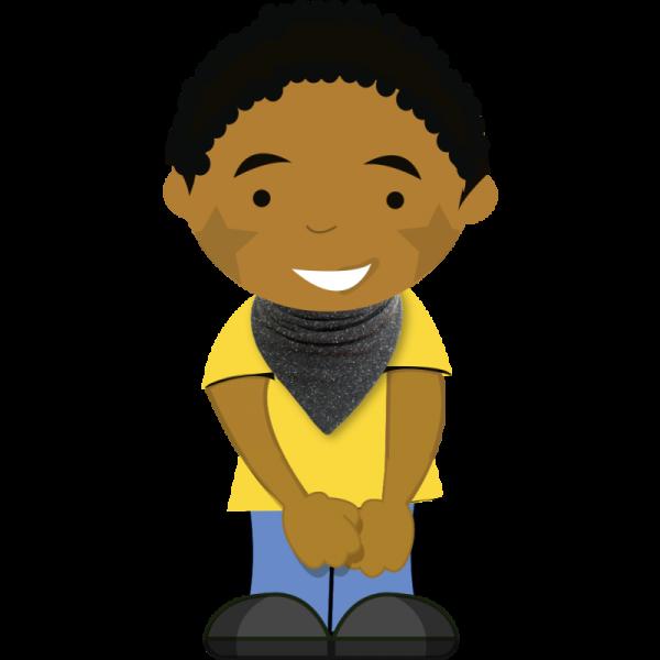 Speckled black dribble bib on cartoon boy